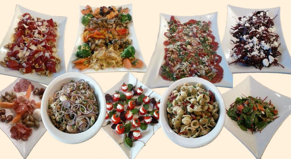 Platten mit verschiedenen Speisen